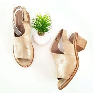 ANTELOPE Slingback Sandals Gold Leather Heels Shoe
